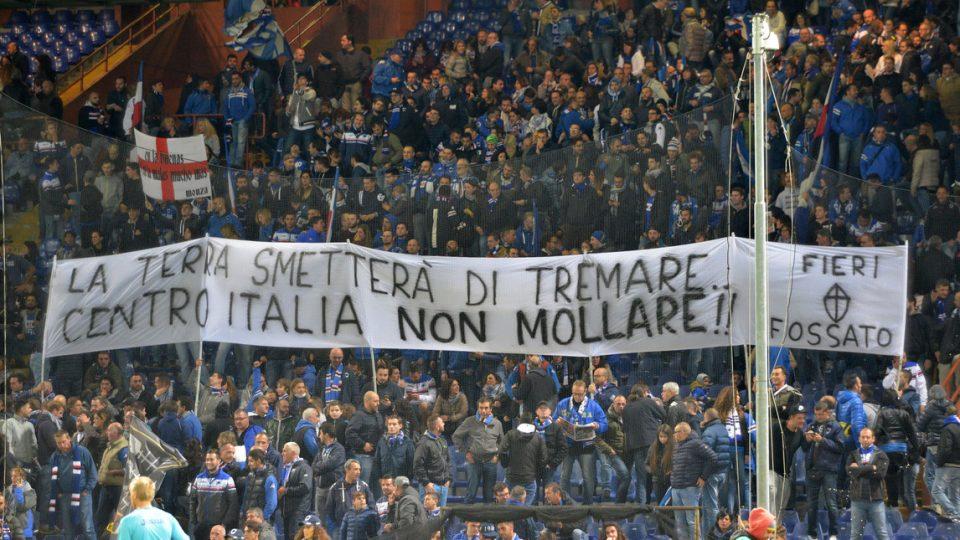 Solidarietà dei tifosi per le scosse che hanno colpito il Centro Italia.