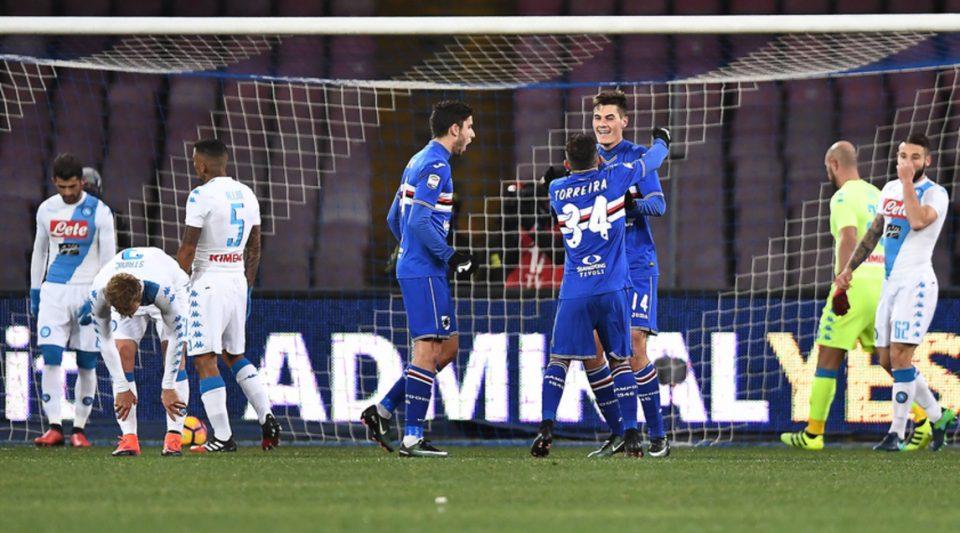 La Samp festeggia il gol dello 0-1