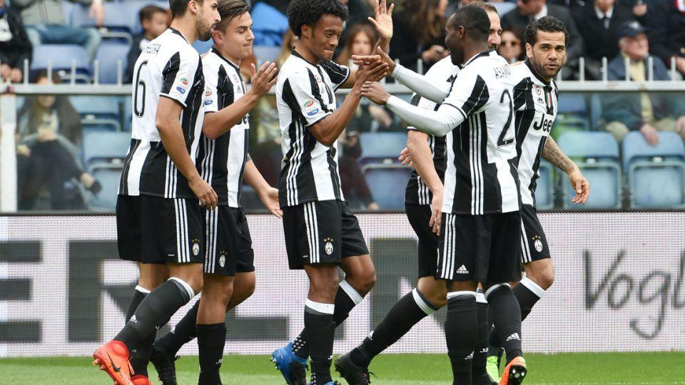 L'esultanza dei calciatori della Juve