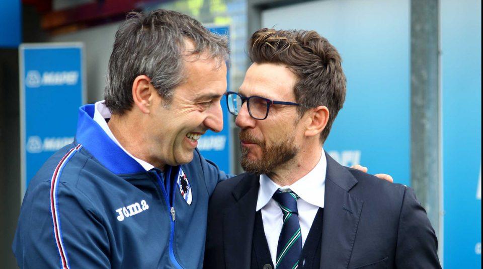 Il saluto tra Giampaolo e Di Francesco prima del match