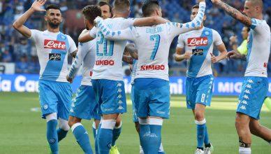 L'esultanza dei giocatori del Napoli