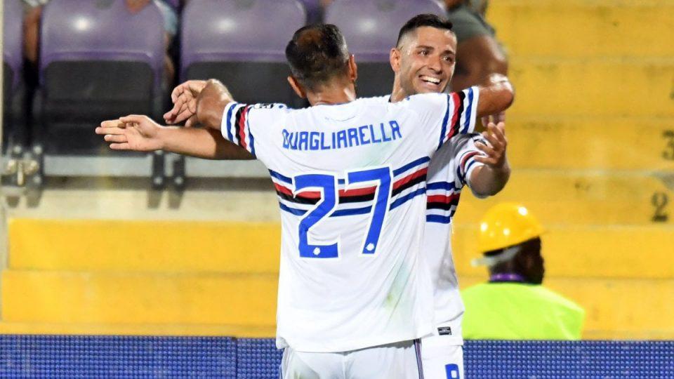 Quagliarella e Caprari festeggiano il gol di quest'ultimo