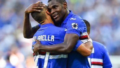 Zapata e Quagliarella festeggiano il gol del pari