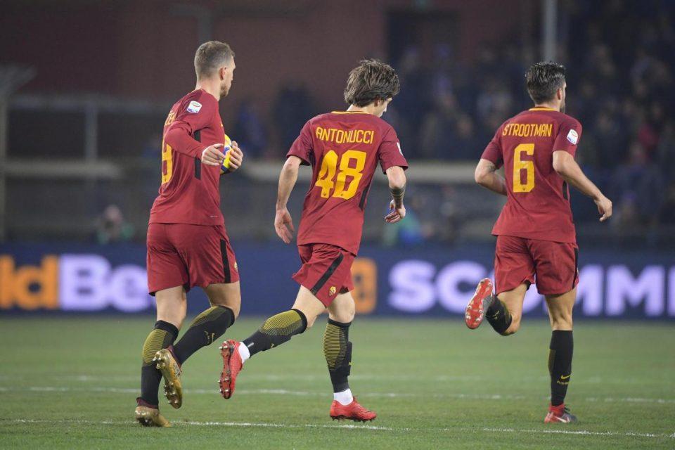 Dzeko e il giovane Antonucci, autori rispettivamente del gol e dell'assist