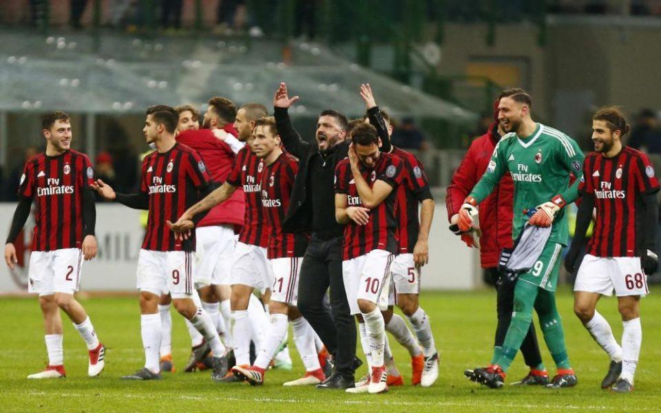 Il Milan festeggia a fine gara