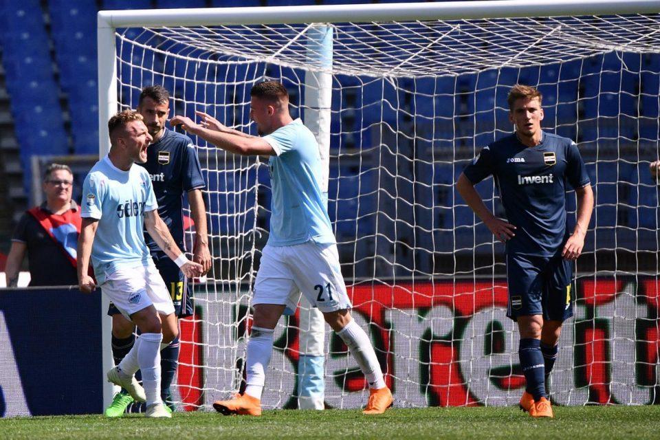 Immobile e Milinkovic festeggiano l'1-0