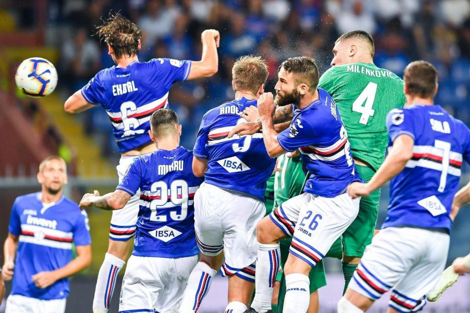 Milenkovic colpisce di testa in mezzo alle maglie blucerchiate