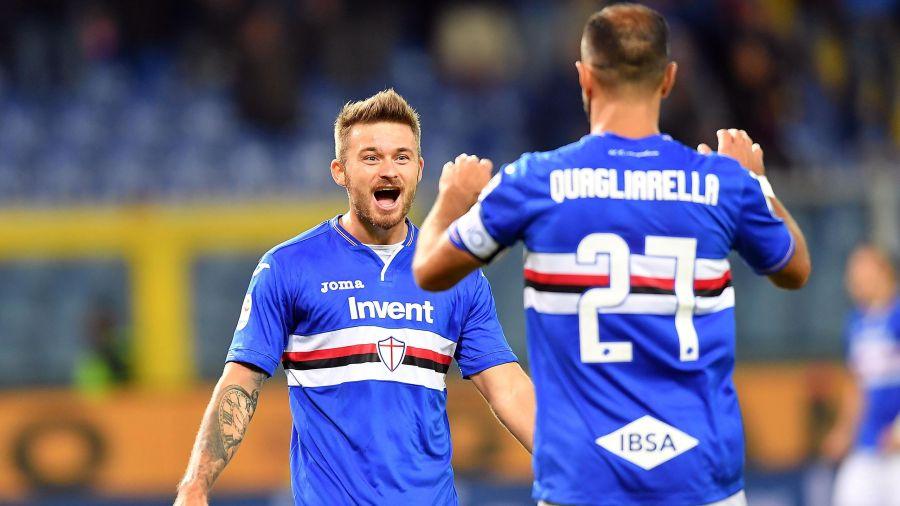 Linetty esulta con Quagliarella dopo il bel gol dell'1-1