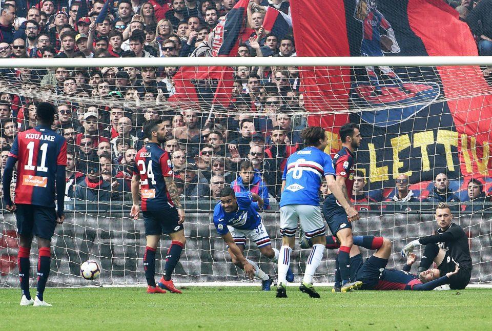 L'esultanza di Defrel: nono gol in campionato