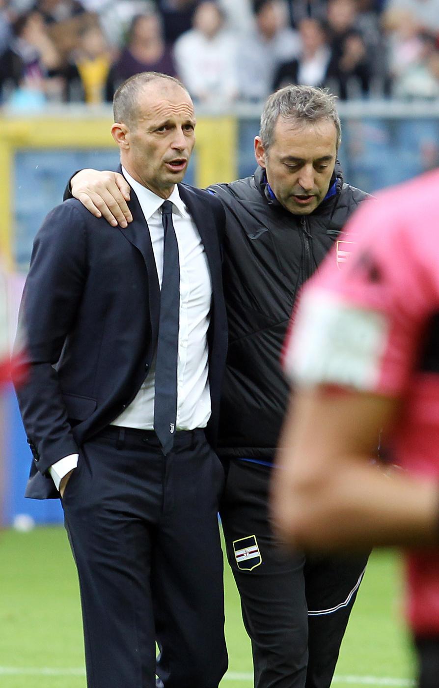 Allegri e Giampaolo si salutano: per il primo si chiude un ciclo di successi alla Juventus, il futuro del secondo non è ancora chiaro