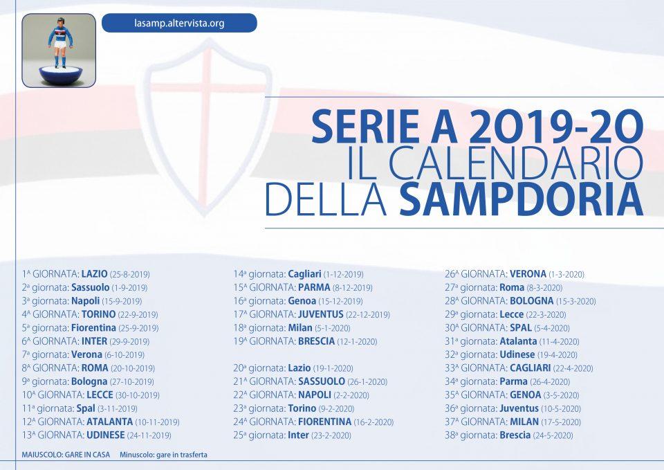 Udinese Calendario 2020.Il Calendario Della Stagione 2019 20 La Samp