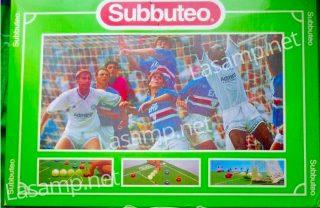 La Sampdoria sulla scatola del Subbuteo: la gara è contro il Leeds nella Makita Cup del 1992