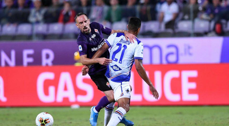 Murillo sgambetta Ribéry e si prende il primo giallo