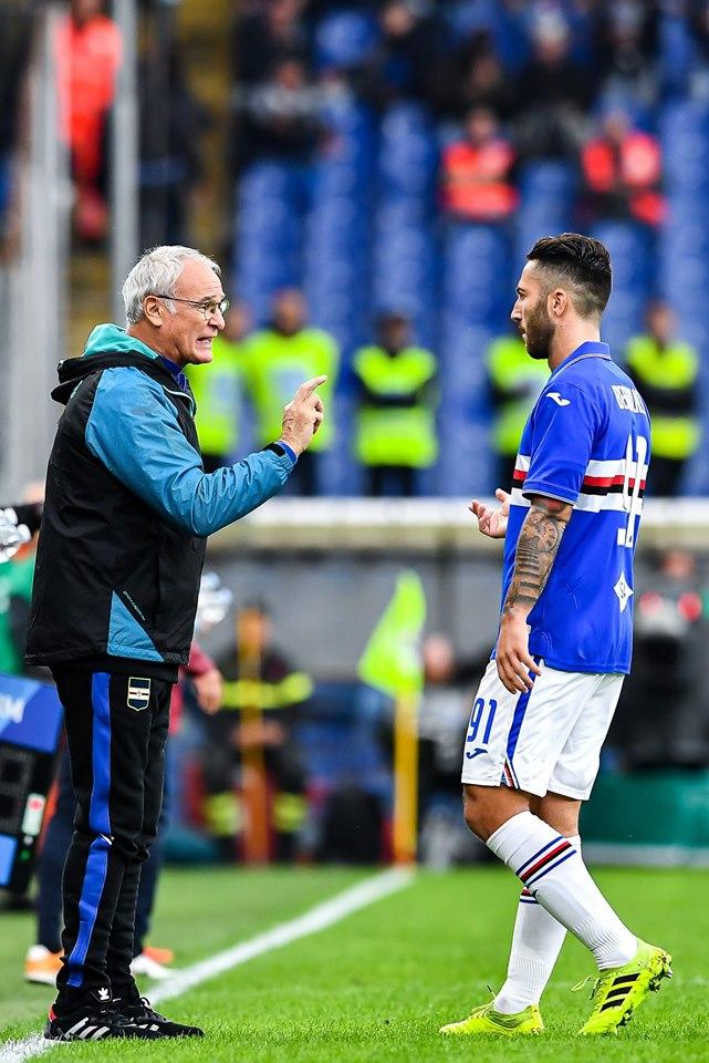 Ranieri dà istruzioni a Bertolacci, all'esordio in blucerchiato