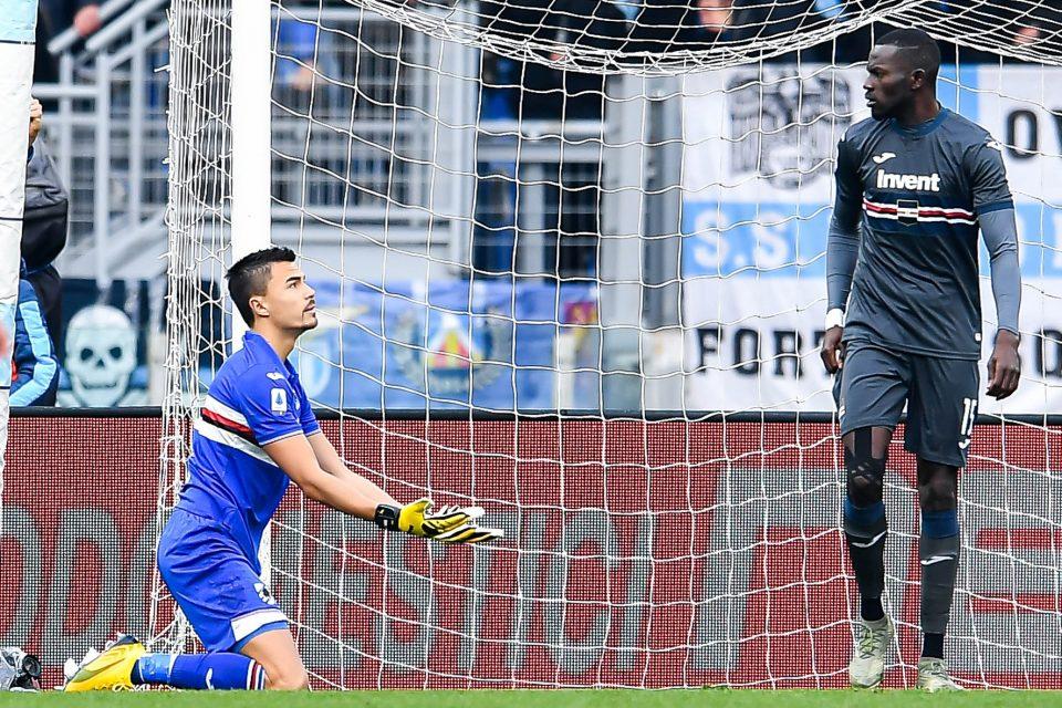 Audero e Colley dopo l'errore di quest'ultimo sul primo gol laziale