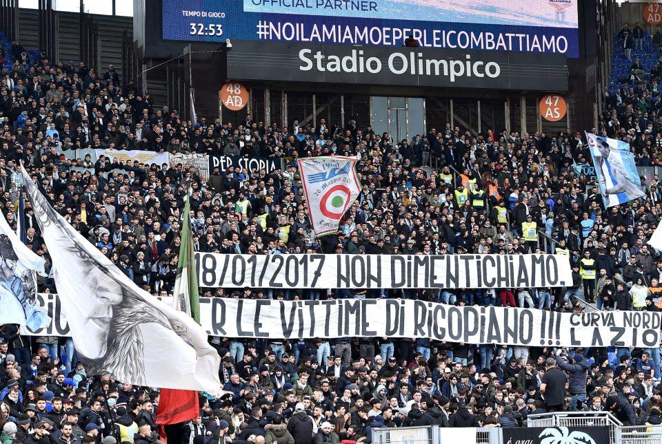I tifosi biancocelesti ricordano le vittime del Rigopiano a tre anni dalla tragedia