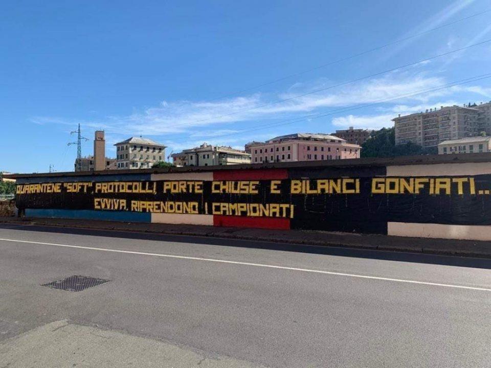 Un messaggio comparso a Genova da parte degli ultras, non contenti della ripresa del campionato
