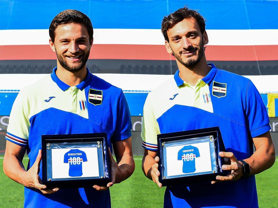 Bereszyński e Gabbiadini premiati per le 100 presenze in blucerchiato