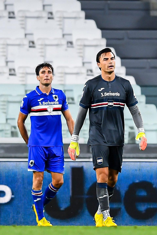 Augello e Audero lasciano il campo dopo il fischio finale