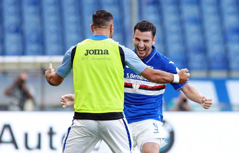Bonazzoli celebra con Quagliarella il gol del 2-0