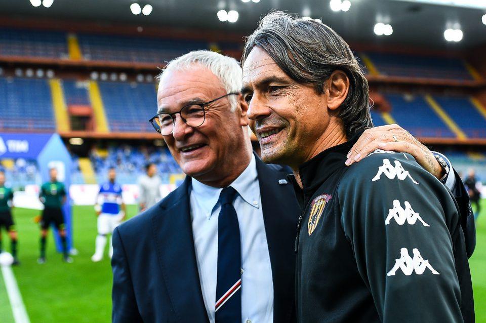 Ranieri e Pippo Inzaghi si salutano prima del match