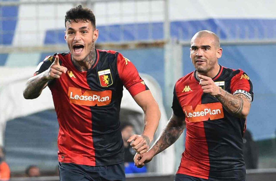 Scamacca esulta con Sturaro dopo il gol dell'1-1