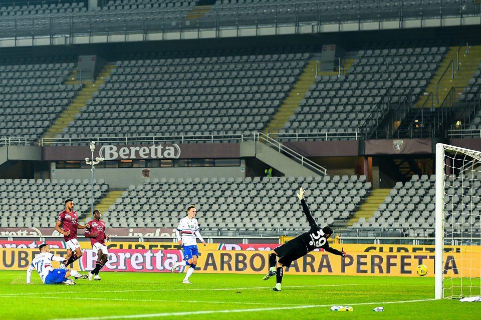 Il bellissimo gol di Quagliarella porta avanti la Samp: 1-2