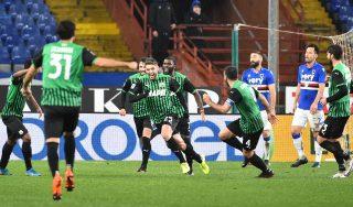 L'esultanza di Berardi dopo il gol dell'1-3