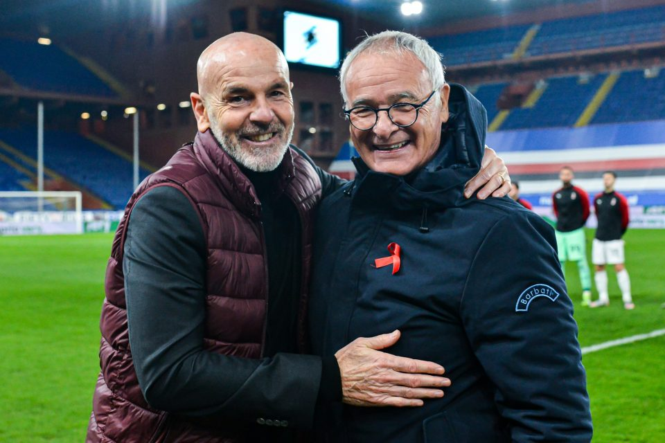 Pioli e Ranieri si salutano prima del calcio d'inizio