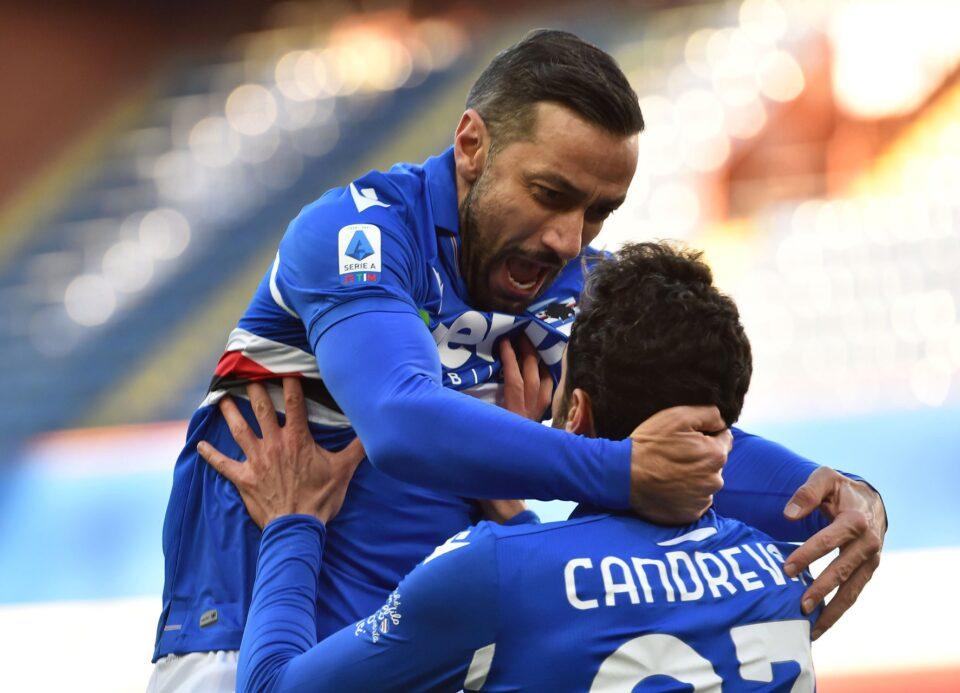 Quagliarella e Candreva festeggiano il 2-1