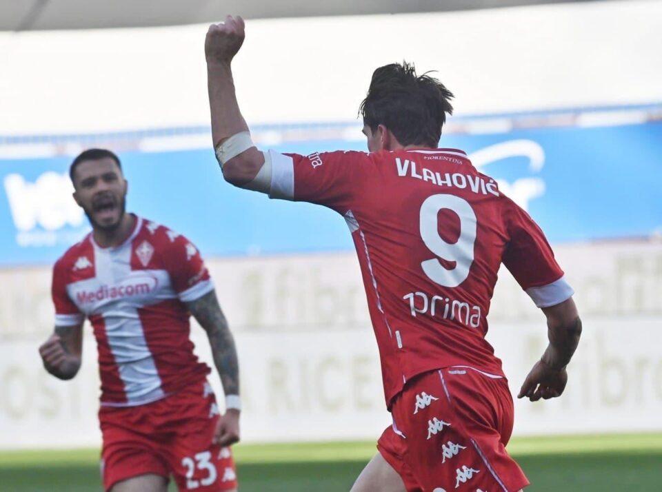 L'esultanza di Dušan Vlahović: 1-1