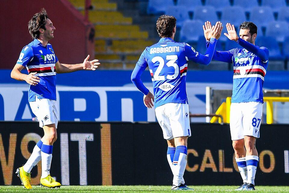 Gabbiadini si congratula con Candreva