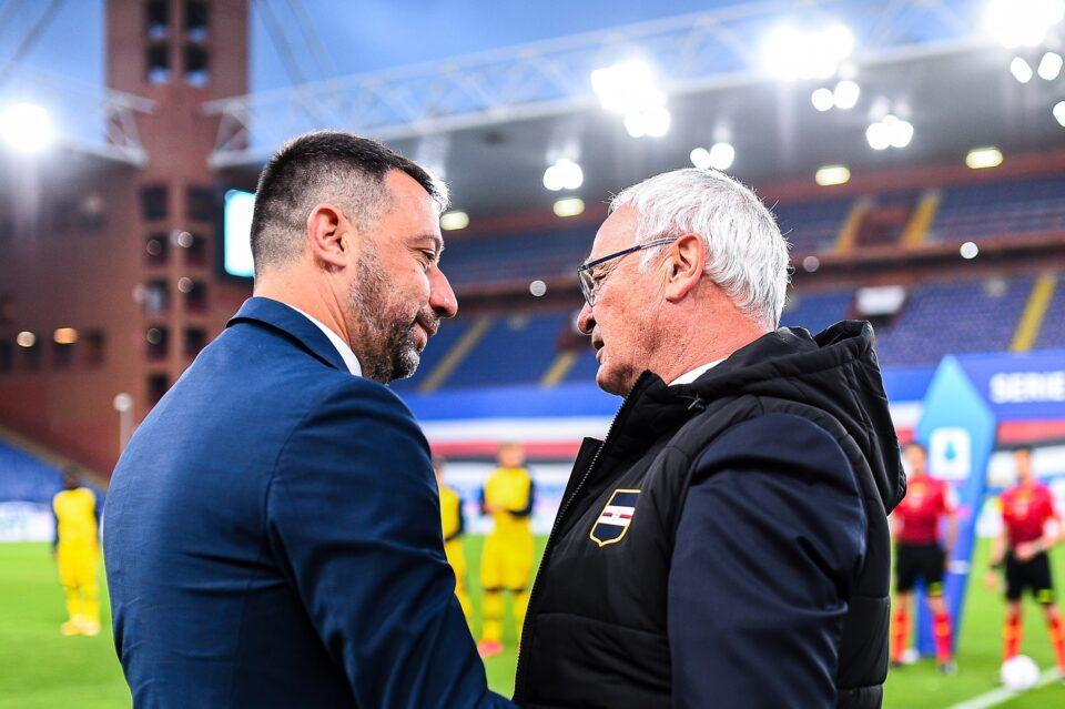 Ranieri, all'ultima panchina doriana saluta D'Aversa, suo possibile successore, prima del calcio d'inizio