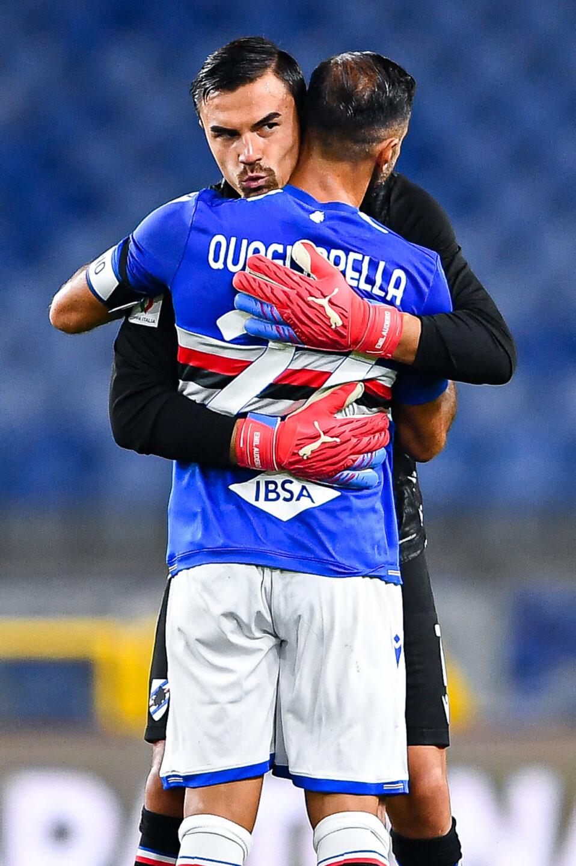 Dopo la rete Quagliarella abbraccia Audero, che non era stato impeccabile sullo 0-1